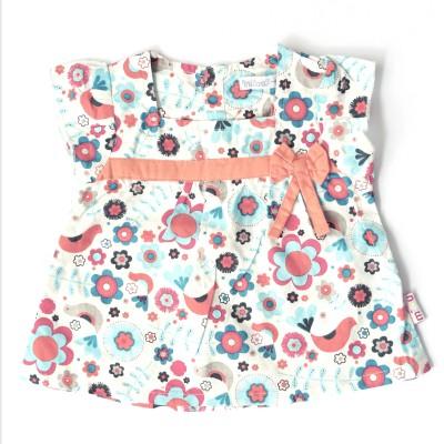 Milou Casual Short Sleeve Self Design Baby Girl's Multicolor Top