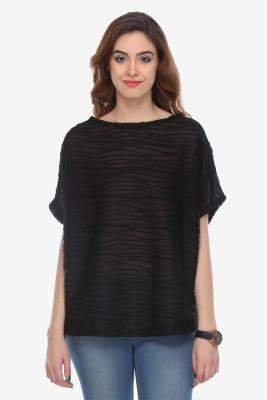 Varanga Party Kimono Sleeve Solid Women's Black Top