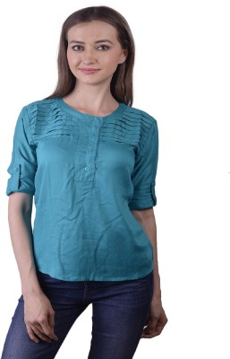 Lee Marc Casual 3/4 Sleeve Solid Women's Blue Top