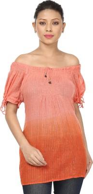 Sataro Casual, Party, Festive, Lounge Wear, Beach Wear Balloon Sleeve Striped Women's Pink, Orange Top