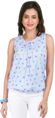 Big Tree Casual Sleeveless Printed Women's Blue Top