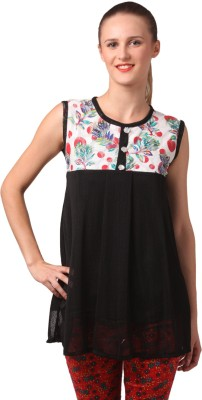 London Off Casual Sleeveless Floral Print Women's Black Top
