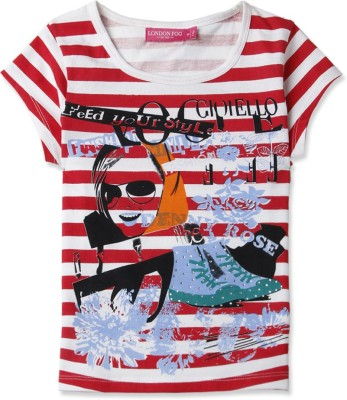 London Fog Casual Short Sleeve Graphic Print Girl's Red Top