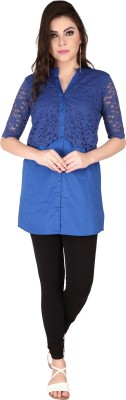 SOIE Casual Short Sleeve Solid Women's Blue Top