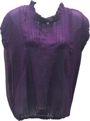 Dovekie Casual Short Sleeve Solid Women's Purple Top