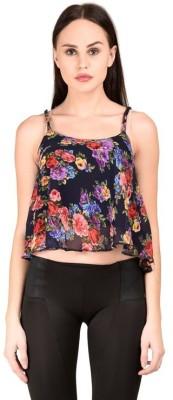Raabta Fashion Casual Sleeveless Floral Print Women's Multicolor Top