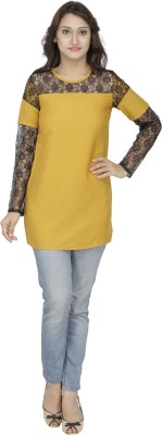 M Expose Casual Full Sleeve Solid Women's Yellow Top