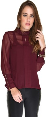 Hermosear Casual Full Sleeve Solid Women's Maroon Top