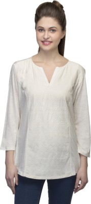 One Femme Casual, Lounge Wear 3/4 Sleeve Embroidered Women,s White Top