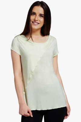 PNY Casual Short Sleeve Solid Women,s Yellow Top