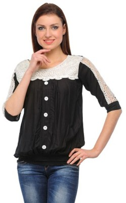 PINK SISLY Casual 3/4 Sleeve Solid Women's Black Top