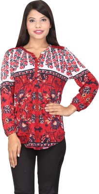 TUC Casual Full Sleeve Printed Women's Red, White Top