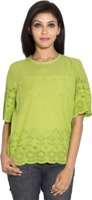 Simplona beau Casual Short Sleeve Self Design Women's Green Top