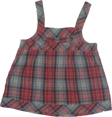 Red Rose Casual, Party, Festive Sleeveless Checkered Baby Girl,s Multicolor Top