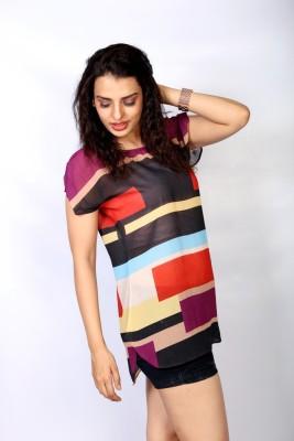 IRTALUCY Casual Petal sleeve Printed Women's Multicolor Top