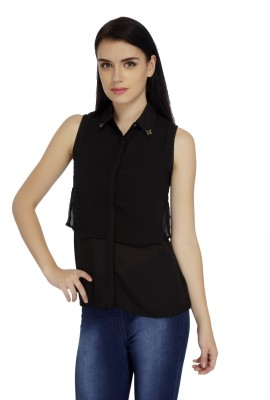 Mineral Casual Sleeveless Solid Women's Black Top