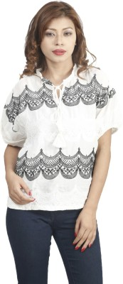 Naitik Casual 3/4 Sleeve Printed Women's White Top