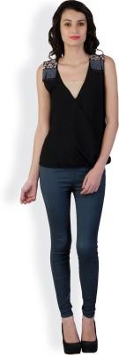 Spanishtree Casual Sleeveless Solid Women's Black Top