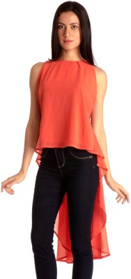 MIST ISLAND Casual Sleeveless Solid Women's Pink, Orange Top