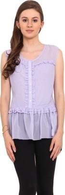 Sweet Lemon Casual Sleeveless Solid Women's Purple Top