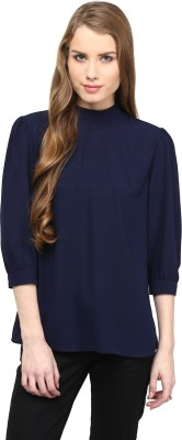 Rare Casual 3/4 Sleeve Solid Women,s Blue Top