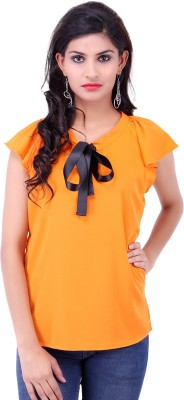 Fbbic Casual Short Sleeve Solid Women's Orange Top
