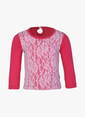 Baby League Casual Full Sleeve Solid Baby Girl,s Pink Top