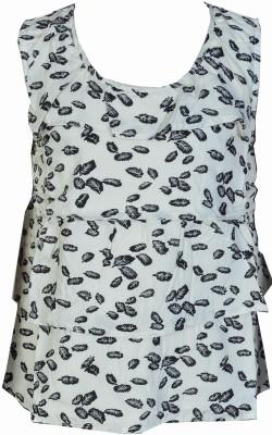 Pinehill Casual Sleeveless Floral Print Girl's White, Black Top