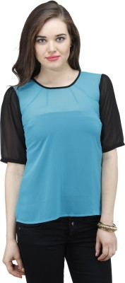 Osumfab Casual 3/4 Sleeve Solid Women's Blue, Black Top