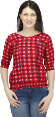 Colornext Casual Puff Sleeve Polka Print Women,s Red, Blue Top