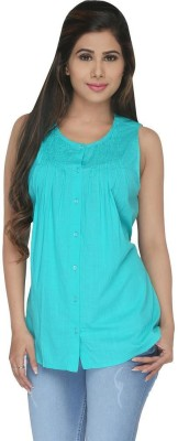 Fashion Wardrobe Women's Solid Casual Blue Shirt