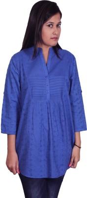 Polita Formal 3/4 Sleeve Embroidered Women's Dark Blue Top