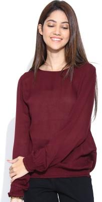 Vaak Casual Full Sleeve Solid Women's Brown Top
