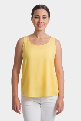Bhane Casual Sleeveless Solid Women's Yellow Top