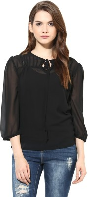 Harpa Formal 3/4th Sleeve Solid Women's Black Top at flipkart