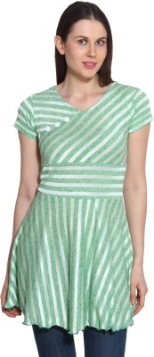 Sienna Casual Short Sleeve Striped Women's Light Green, White Top
