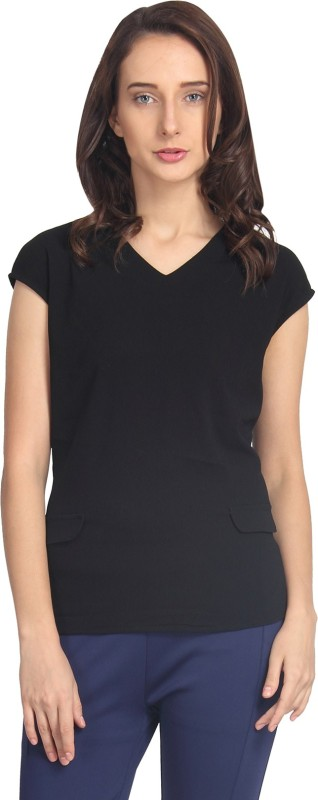 Amari West By INMARK Casual Short Sleeve Solid Women's Black Top