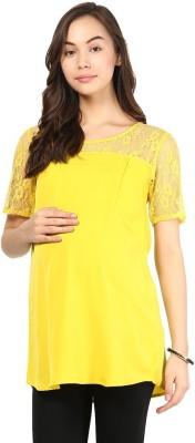 Mine4Nine Casual Short Sleeve Self Design Women's Yellow Top at flipkart
