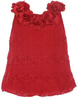 LEI CHIE Casual Sleeveless Self Design Girl's Red Top