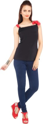 Pick Pocket Casual Sleeveless Solid Women's Black, Red Top