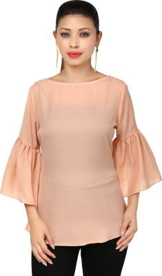 Threesome Casual Bell Sleeve Solid Women's Orange Top