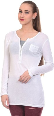 Claude 9 Casual Full Sleeve Solid Women's White Top