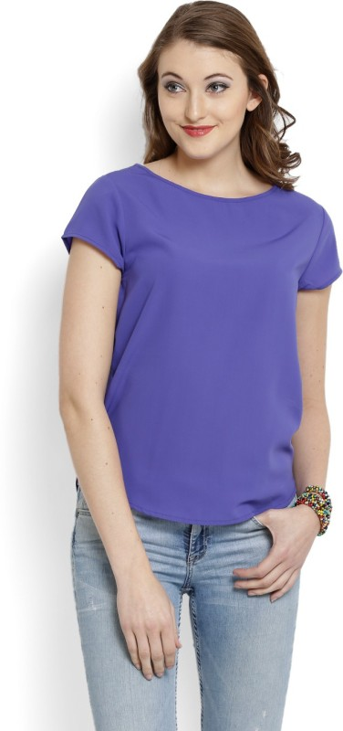United Colors of Benetton Casual Short Sleeve Solid Women's Purple...
