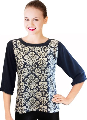 BeforeAfter Casual 3/4 Sleeve Printed Women's Blue, White Top