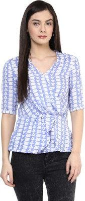 Citrine Casual Short Sleeve Printed Women's Blue, White Top