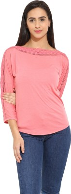 Why Knot Casual 3/4 Sleeve Solid Women's Pink Top