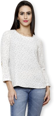 Pear Blossom Casual 3/4 Sleeve Floral Print Women's Beige, Multicolor Top