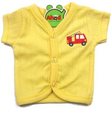 Ahad Casual Short Sleeve Solid Baby Girl's Yellow Top