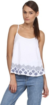 Annapoliss Casual Sleeveless Embroidered Women's White, Blue Top