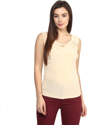 Rare Casual Sleeveless Solid Women,s Beige Top